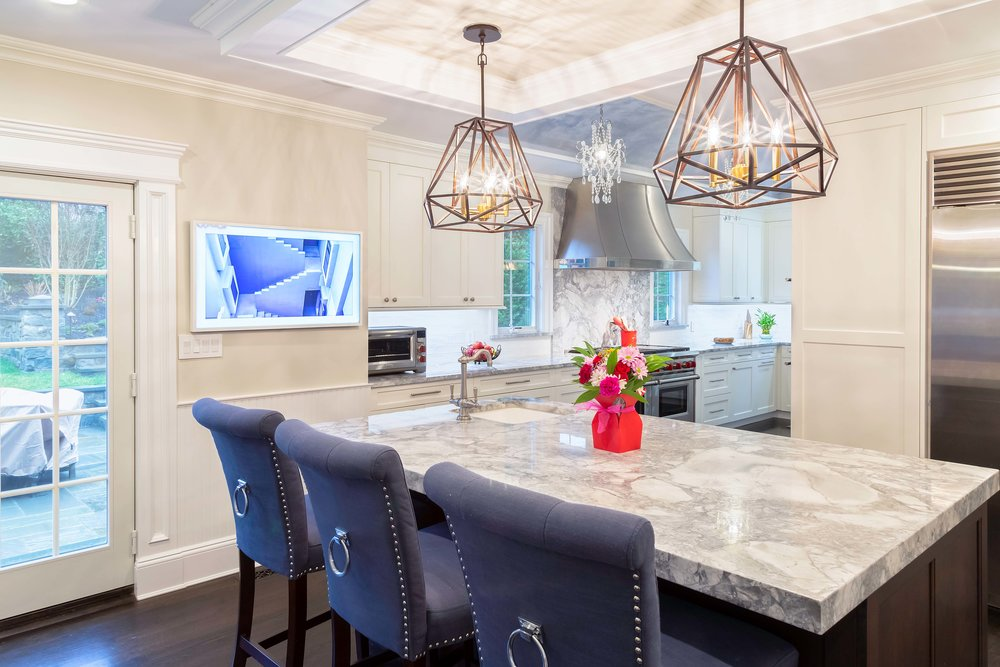 Transitional kitchen with granite countertop