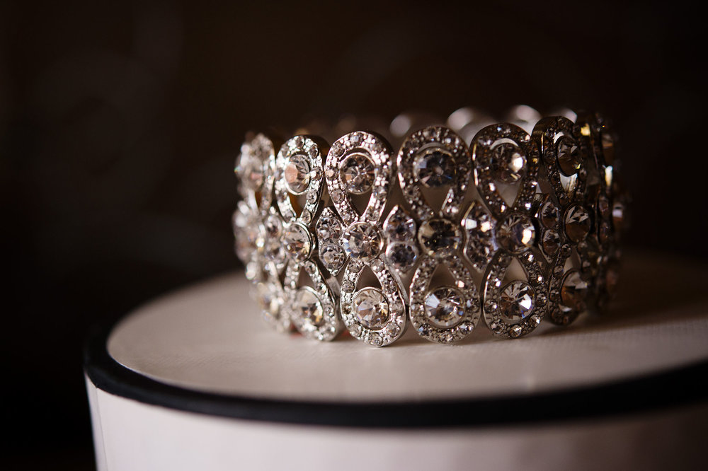 Bride's bracelet detail at the Westlake Village Inn.