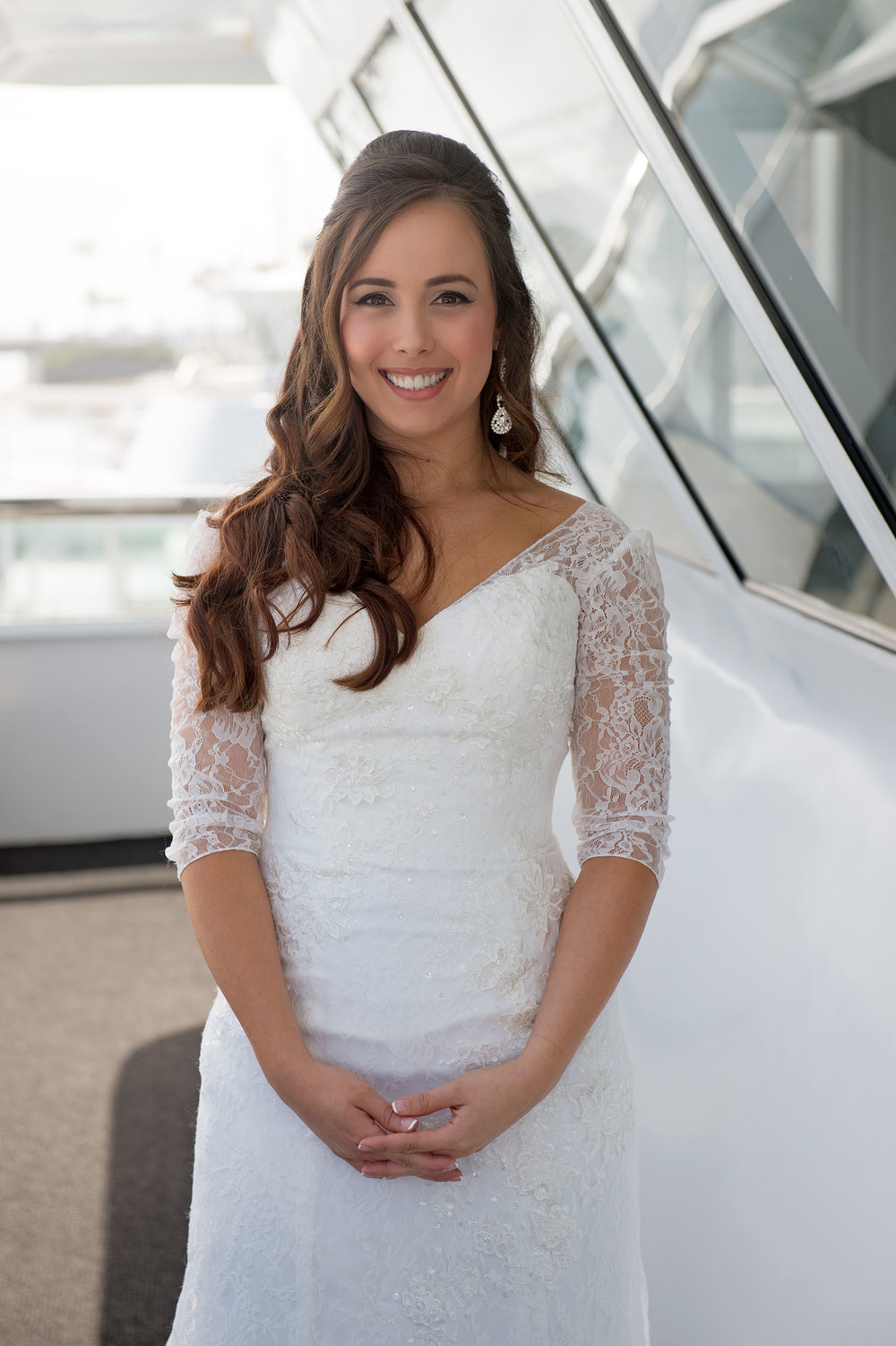 Bride on an Electra Cruises ship deck in Newport Beach.