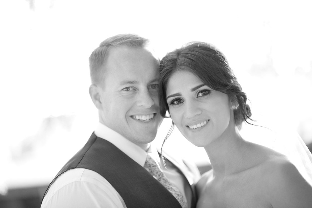 Bride and groom in black & white at Ollis Ranch in Redlands.