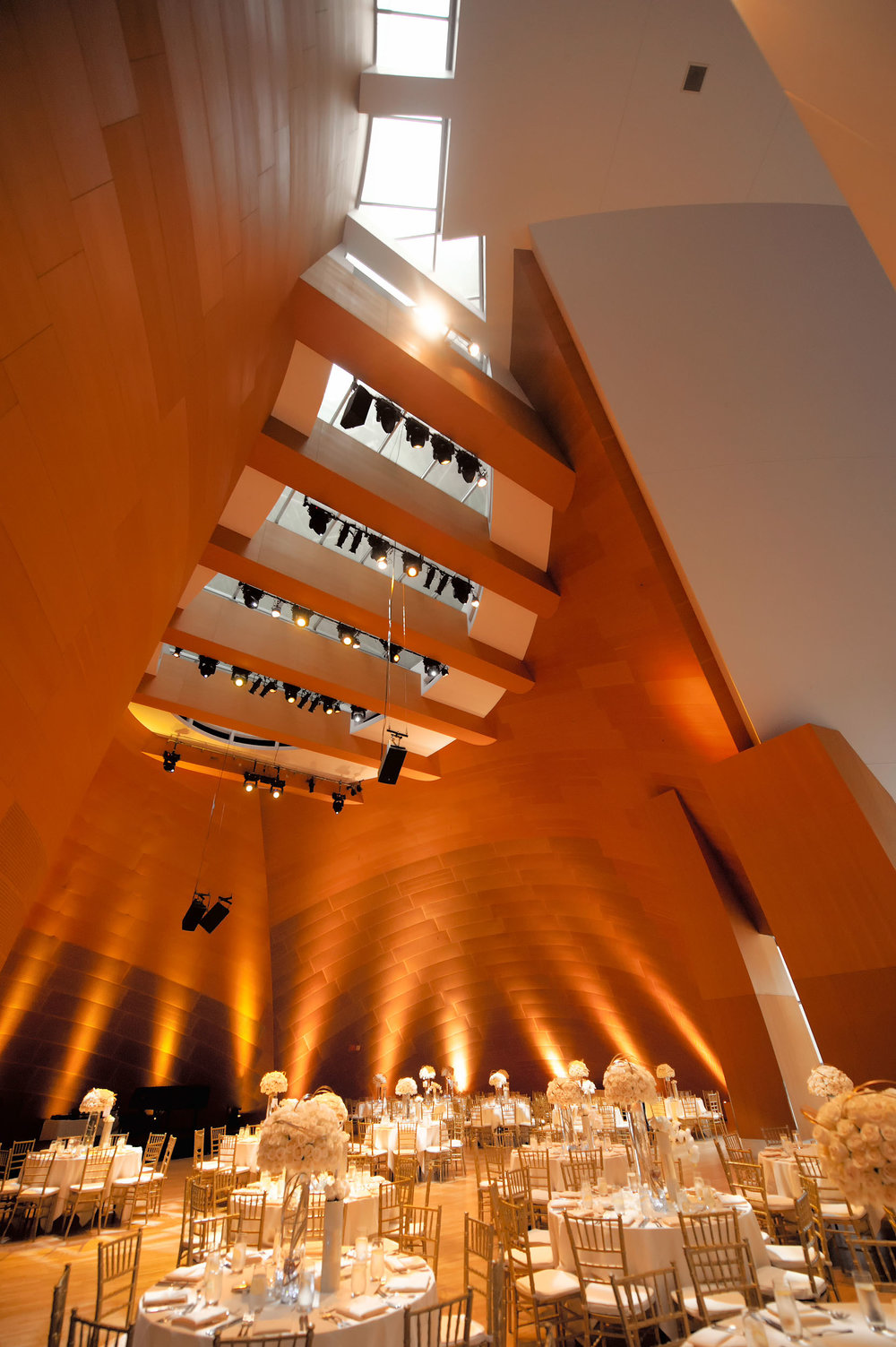 Wedding reception ballroom at the Walt Disney Concert Hall in Los Angeles.