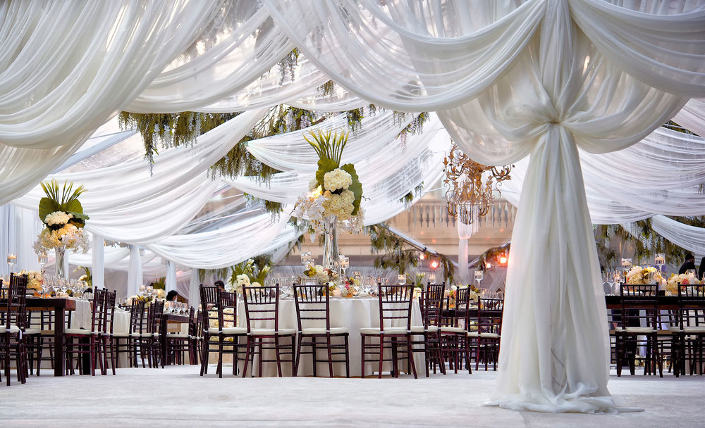 A gorgeous weddgin reception ballroom at a Beverly Hills residence.