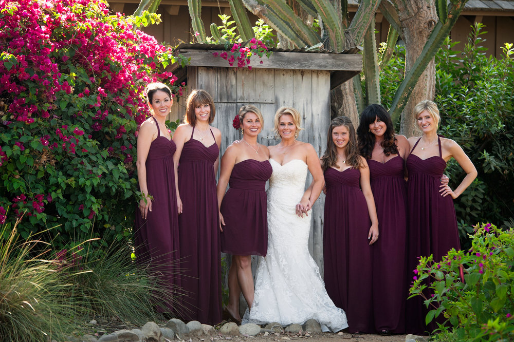 Bride, maid of honor and bridesmaids in San Juan Capistrano.