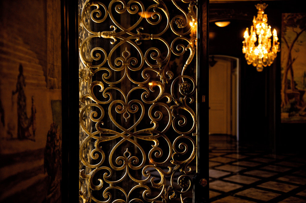 Gold gilded metal doors at the Cravens Estate in Pasadena. This was the filming location of Glee's Dalton Academy.