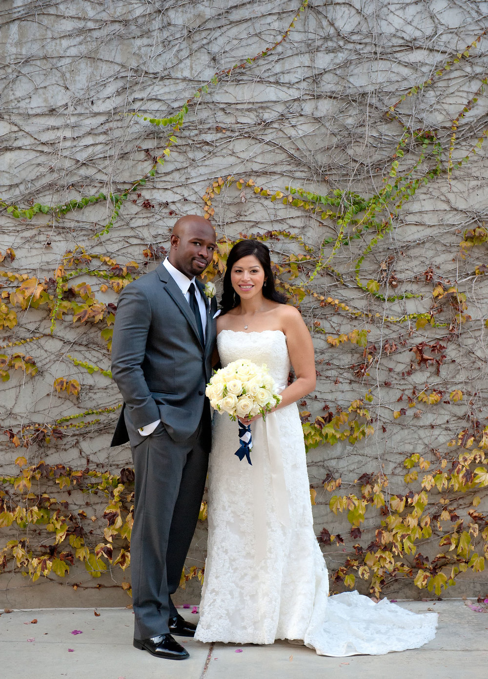 Bride and groom portrait at the City of Brea Community Center.