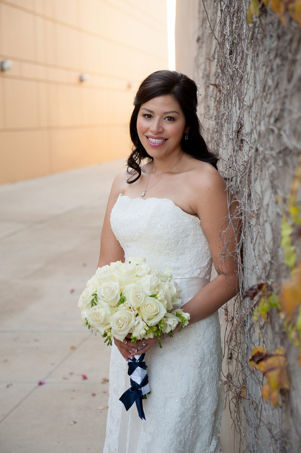 Bride portrait with ivy at the City of Brea Community Center.