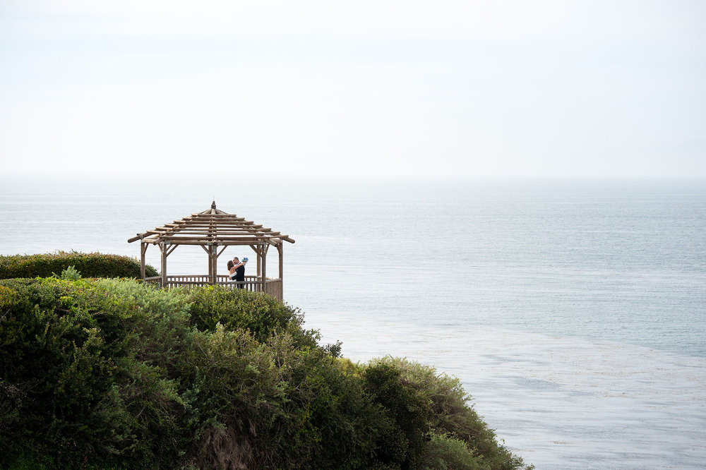 Bride and groom at gazebo in the Rancho Palos Verdes Peninsula.