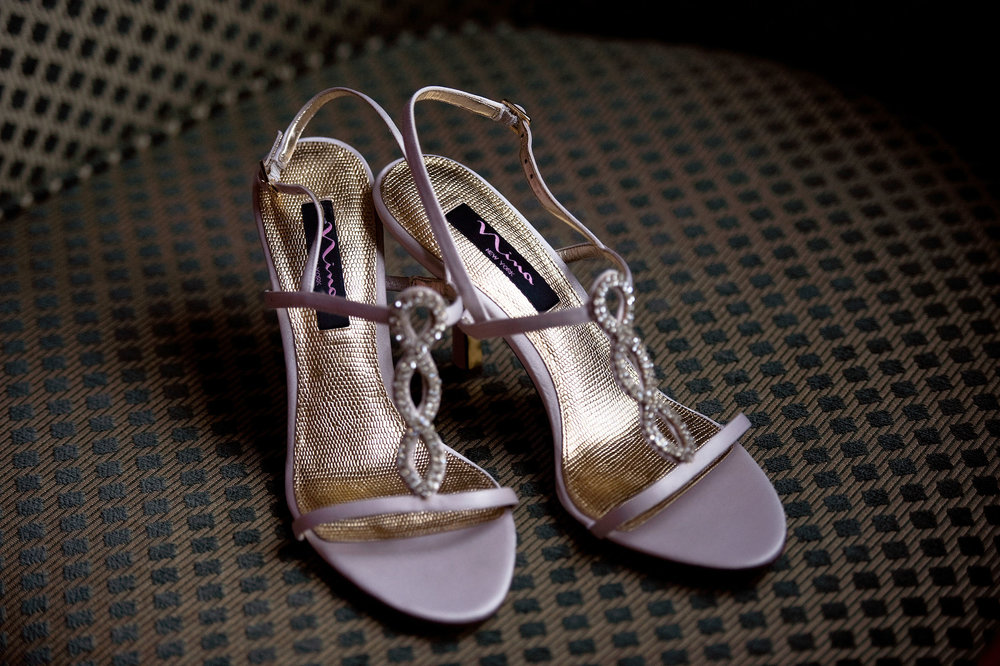 Bride's Nina New York wedding high heel shoes.