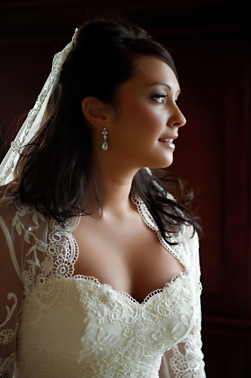 Bridal portrait in hotel room at the Manchester Grand Hyatt Regency in San Diego.