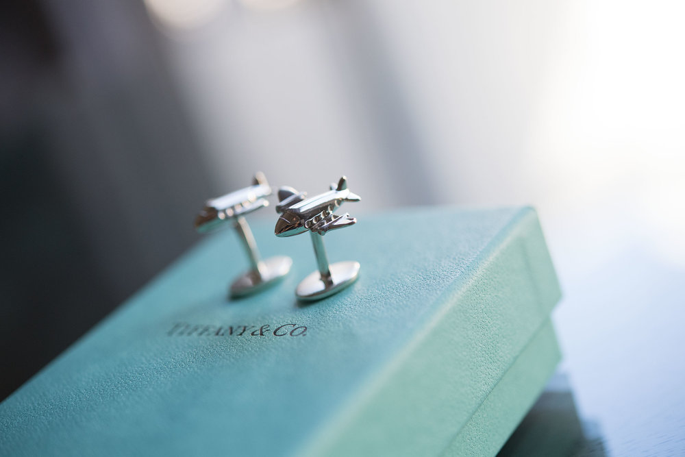 A pair of airplane aviation cufflinks from Tiffany & Co. at Santa Catalina Island.