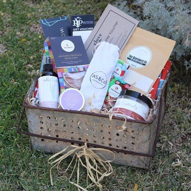 Queen Bee - Mother's Day Hamper  We absolutely LOVE this hamper. It is jam packed full of goodies sourced from local businesses in the Mildura region. And, you couldn't ask for a better hamper - check out the iconic, pre-loved, rustic dip tin!  In this hamper you'll find:  Natural Approach - cream deodorant (50 grams) The Bentonite Co. Raw Bentonite Clay Mask (250 grams) Mallee Naturals Bliss Bath salts Mallee Naturals Sleepy Time Spray (250 ml) 1 x session @ Reform Me Pilates $12.50 Clove Organics Thursday Take Home Dinner voucher 1 x Glow smoothie voucher AS&Co. Gracefully Green - 2 x straw pack with cleaner Penni-Q Pottery handmade ramekin Penni-Q Pottery handmade squashed latte cup Mildura Chocolate Co. Hot Chocolate Dip - Milk Chocolate (35 grams) Mildura Chocolate Co.  Hot Chocolate Dip -Blood Orange (35 grams) Mildura Chocolate Co. Mildura Produce Selection (180 grams) Reusable shopping bag Gorgeous rustic dip tin FREE personal delivery within the Mildura, Victoria region Delivery options available outside of Mildura, Victoria. Please message for a quote.  R.R.P. $228.35, special price of $159.95.  Orders & payment must be received by Tuesday 7th May to secure your purchase.  Hampers numbers are limited so don't miss out on this amazing offer!!