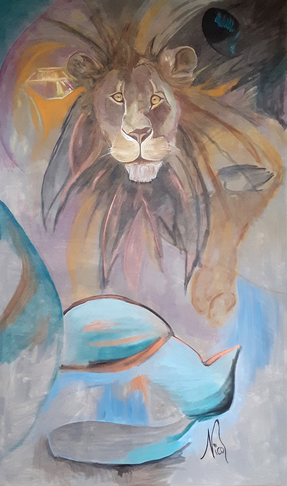"""Lion  . 2018. Acrylic on canvas. 36"""" x 48"""" Original painting  purchase  info. Canvas prints  purchase  info."""