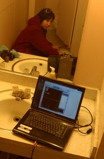 Tuning using Processing. Yes that is a public bathroom in the background. Times were rough.