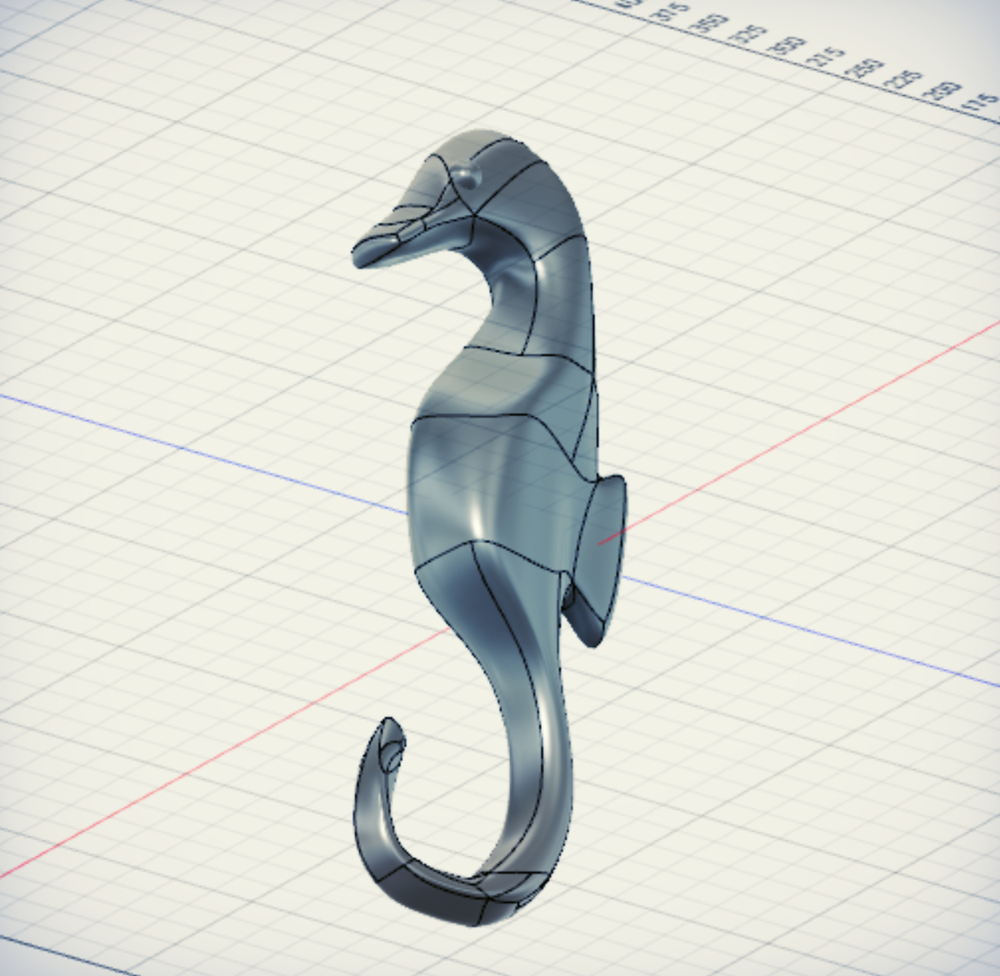3D model of seahorse in Fusion 360