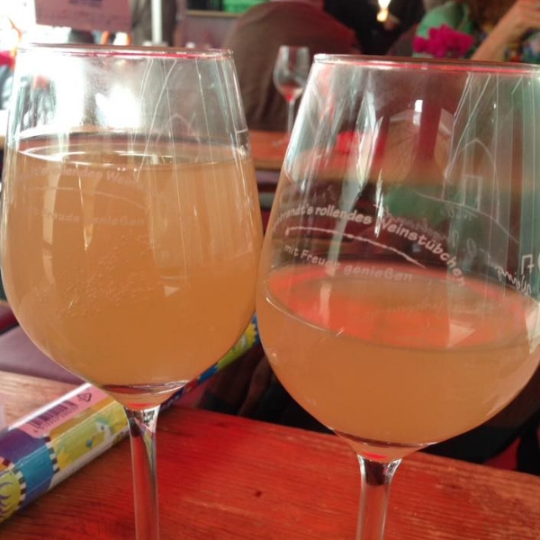Two glasses of Federweisser… one of us liked it a lot!