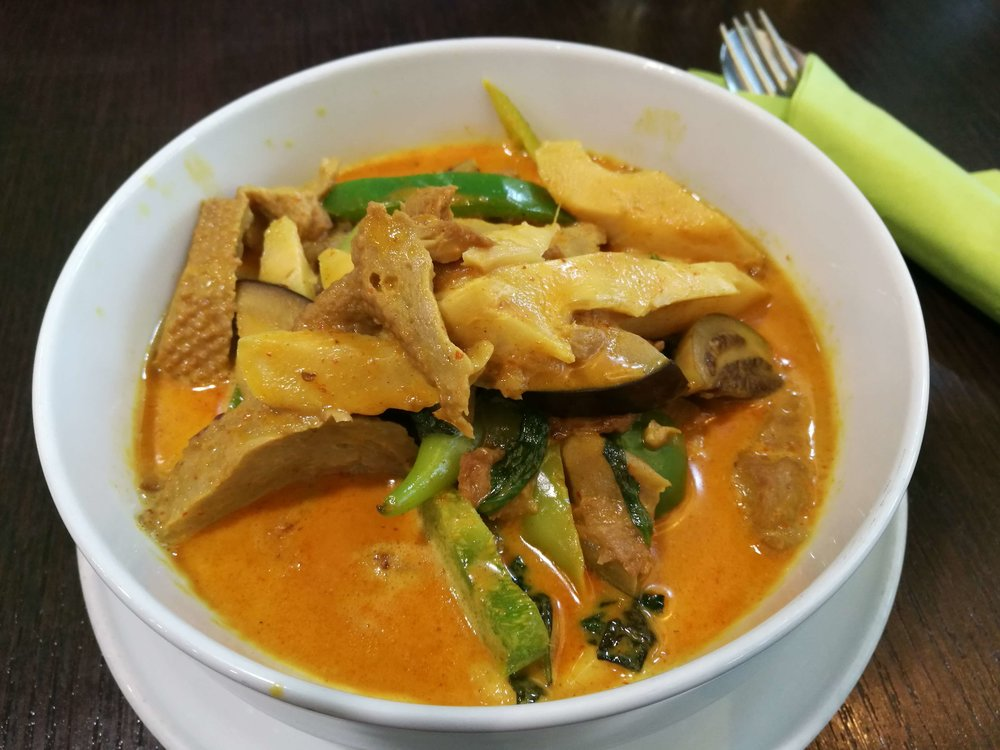 Aroydee , a Thai restaurant in Frankfurt, has an entire vegan section in its menu. :-)