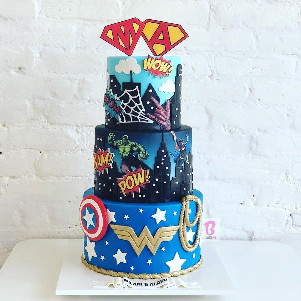 superhero cake 3 tier s