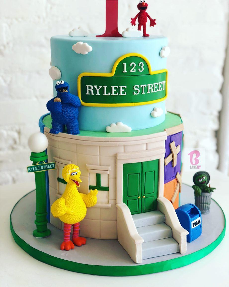 sesame street cake 2 tier