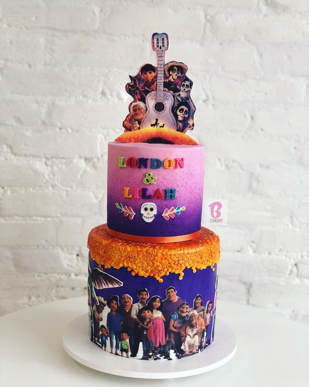 coco movie theme cake 2 tiers