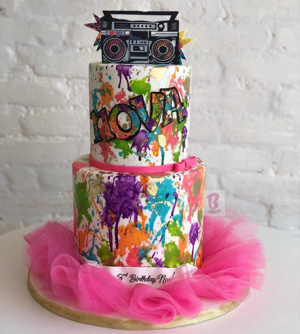retro boombox neon cake 2 tiers with tutu