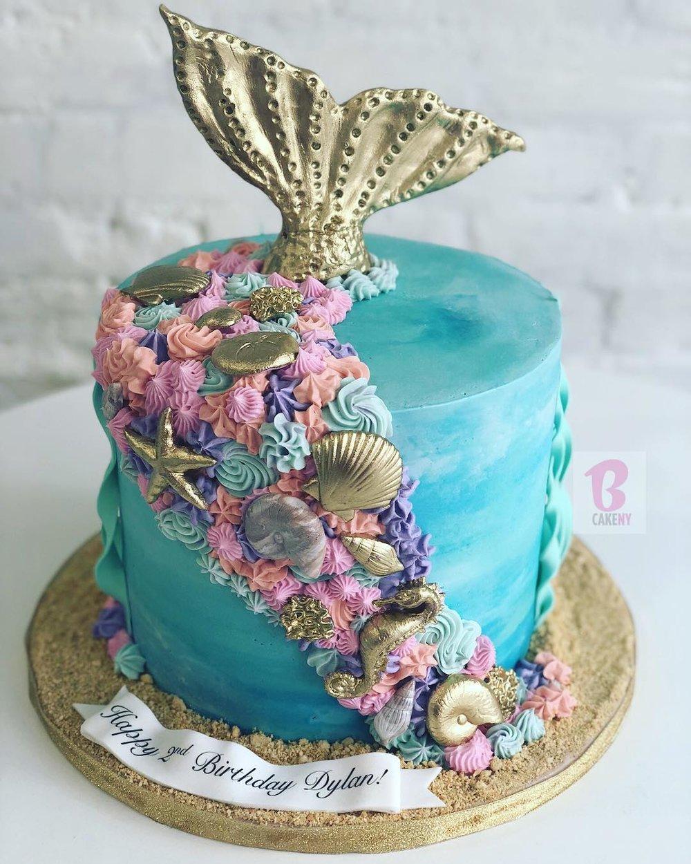 mermaid theme cake 1 tier