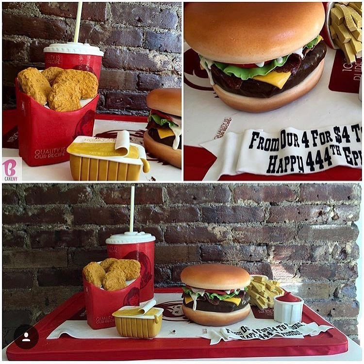 wendy's burger nuggets and shake shaped cakes
