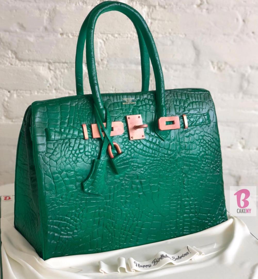 birkin bag cake in green