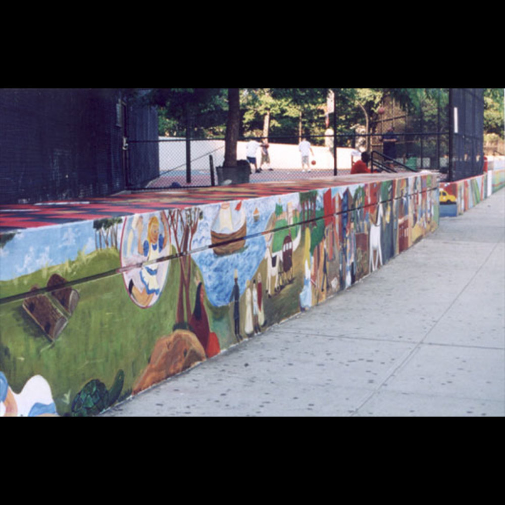 Alice On The Wall: I lead Stuyvesant High School students to create this community mural on Chambers Street in NYC.