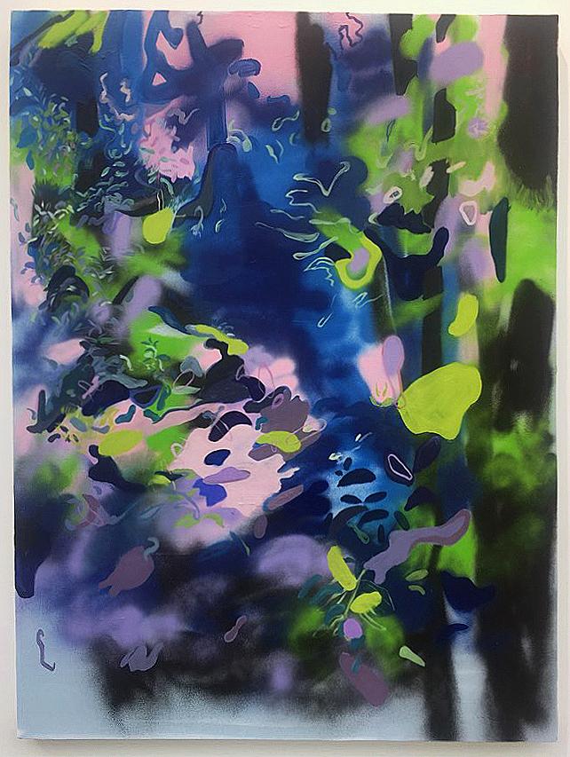 "2017  Oil and spray paint on canvas  48"" x 36"" x 1-1/2"""