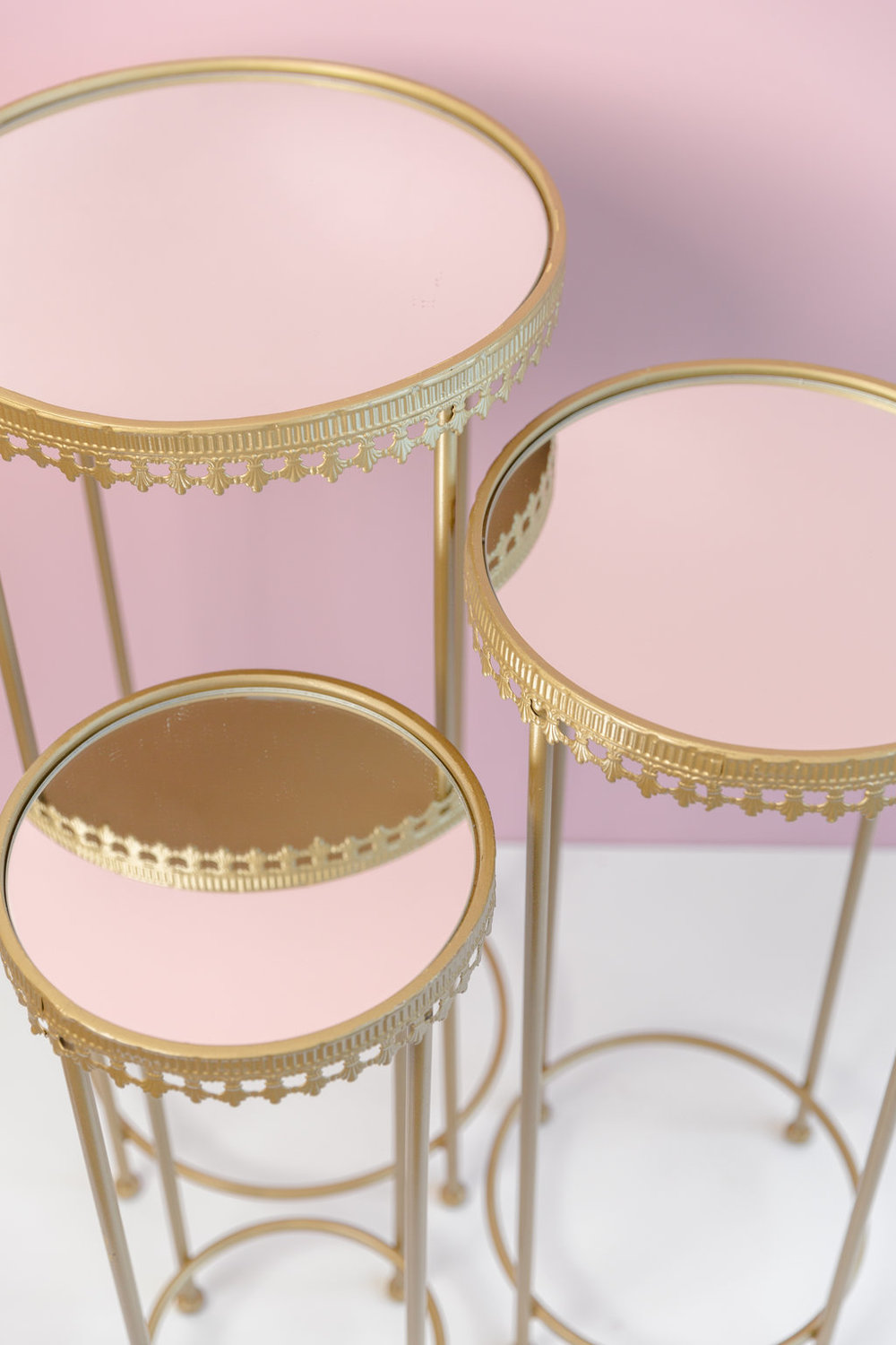 Gold Mirror Tables  $55 per set of three (2 sets available)