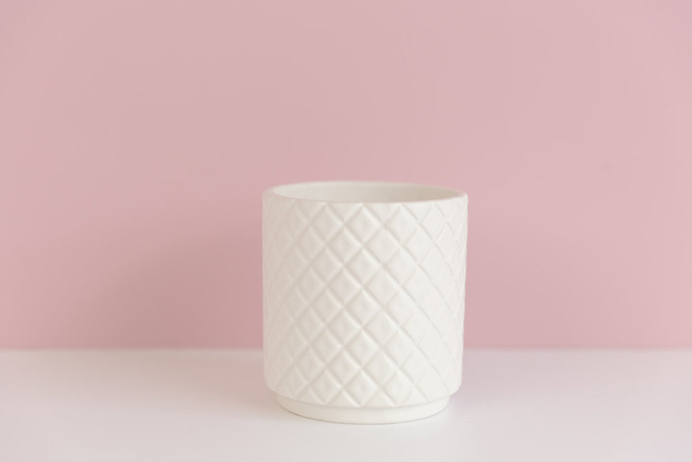 White Quilted Pot (Small)  $3.00 each