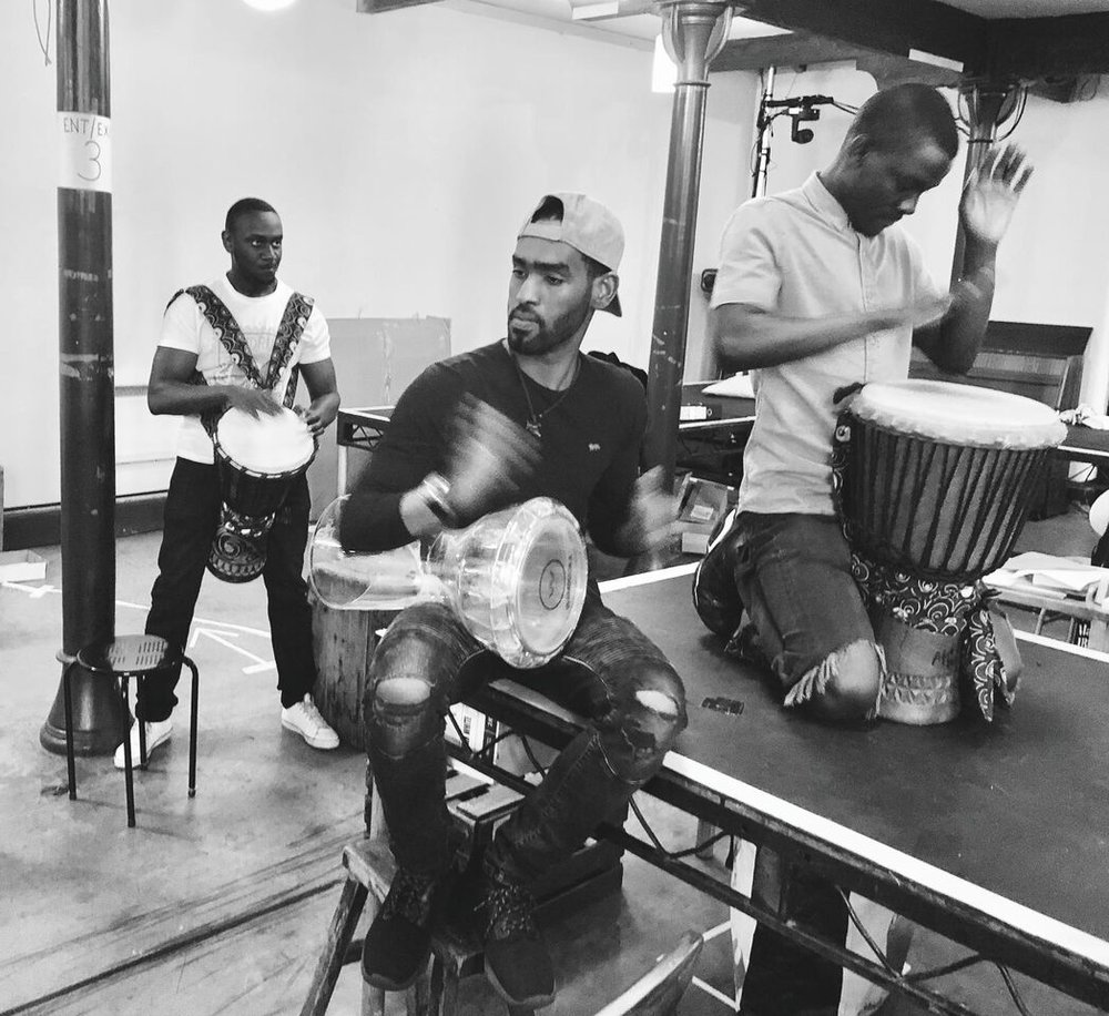 Mohamed Sarrar, John Pfumojena and Cherno Jagne in rehearsals for The Jungle