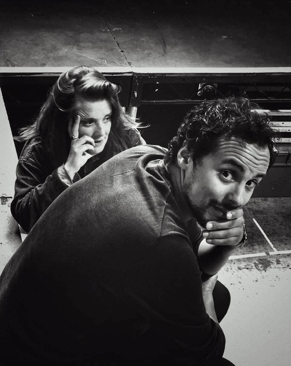 Rashid Sabitri and Jo McInnes in rehearsals for The Jungle