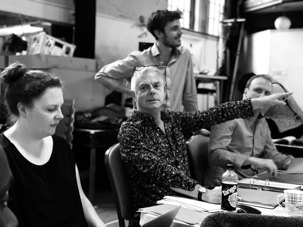 Jo Cox, Stephen Daldry, Joe Murphy and Justin Martin in rehearsals for The Jungle
