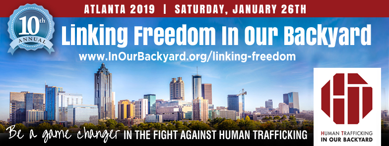 Linking Freedom In Our Backyard    Event Details:  Date: January 26, 2019  Check-in & Resource Fair — 8:30am  Program & Training — 9:15am  Outreach — 11:30am - 2:30pm  Location: Mt. Paran Church — 2055 Mt. Paran Road NW, Atlanta, GA 30327  All event participants MUST register in order to volunteer for Linking Freedom In Our Backyard.  Registration is online at:  www.inourbackyard.org/linking-freedom  . Participants must be 14 years of age or older. Any minors must be accompanied by their parent or legal guardian. Check-in will take place at the event. Volunteers will be trained and given instructions and materials for visiting the stores.