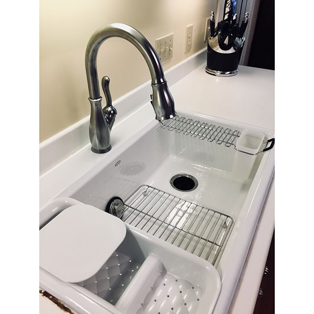 Installed this new sink, faucet, and disposal today. We're loving these single compartment farm sinks. What do you think? #huntsvilleal #plumbing