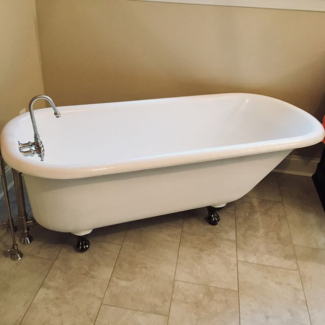Just finished installing this beautiful claw foot tub. We'd love to hear how we can help you with your next plumbing project! #Huntsville #plumbing