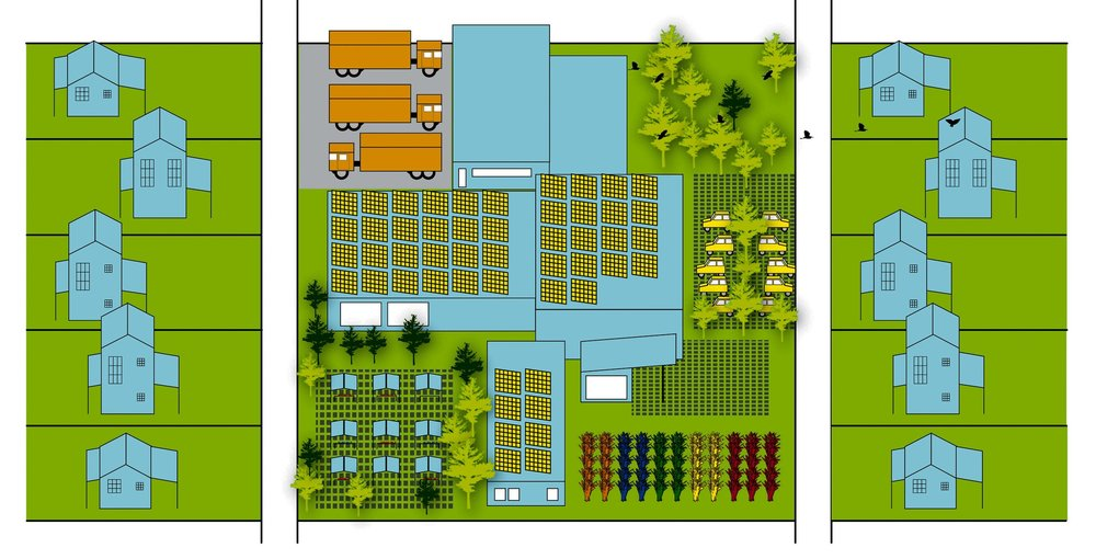 Food Hubs—Vacant lots become food hubs for the aggregation and distribution of fresh food.
