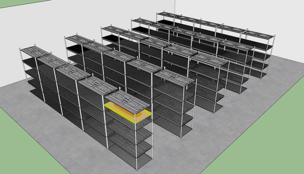 Veg 8 multi stack rack options with Next Light LED