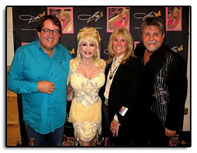"Jim and Pam hangin' out with long time friends Dolly Parton and Richard Dennison, during Dolly's 2008 concert stop in Denver. ""Dolly dedicated  ""Thank God I'm a Country Girl""  to me tonight. What a nice thing and a nice tribute to John Denver. Unbelievable to have her as a friend for 32 years. She's a legend!"""