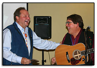 "Jim with ""auctioneer"", Montana's Governor Brian Schweitzer, during the ""Going To The Sun Rally"" in Helena on September 6th, 2008. Auction proceeds went to the Fallen Montana State Patrolmen's Fund."