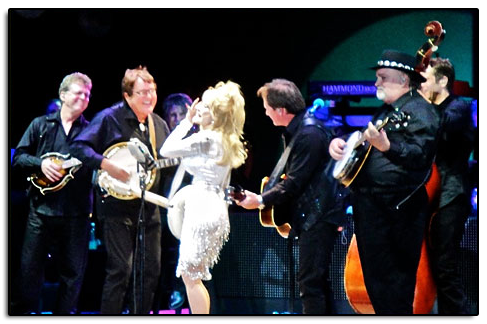 Jim with Dolly Parton and the her band in Albuquerque, New Mexico on July 20th, 2011.