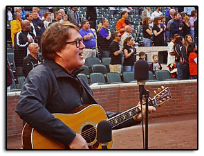 Jim singing the National Anthem at the Colorado Rockies baseball game.