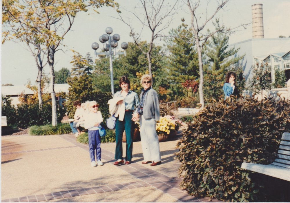 From left to right: me, age 5 or 6, my mom and my Jam at the botanical gardens in St. Louis.