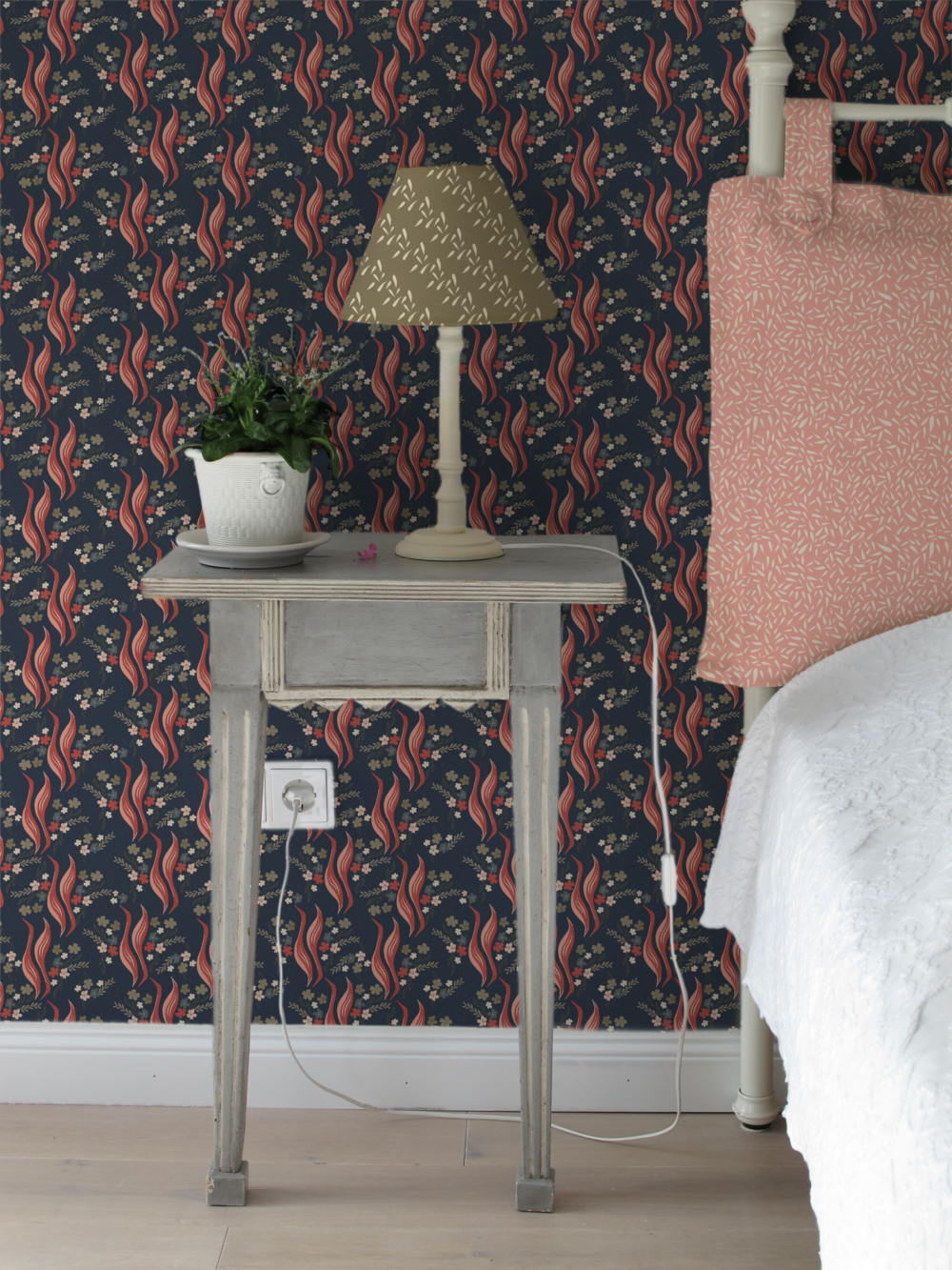 bedroom - wallpaper, lamp and pillow.png