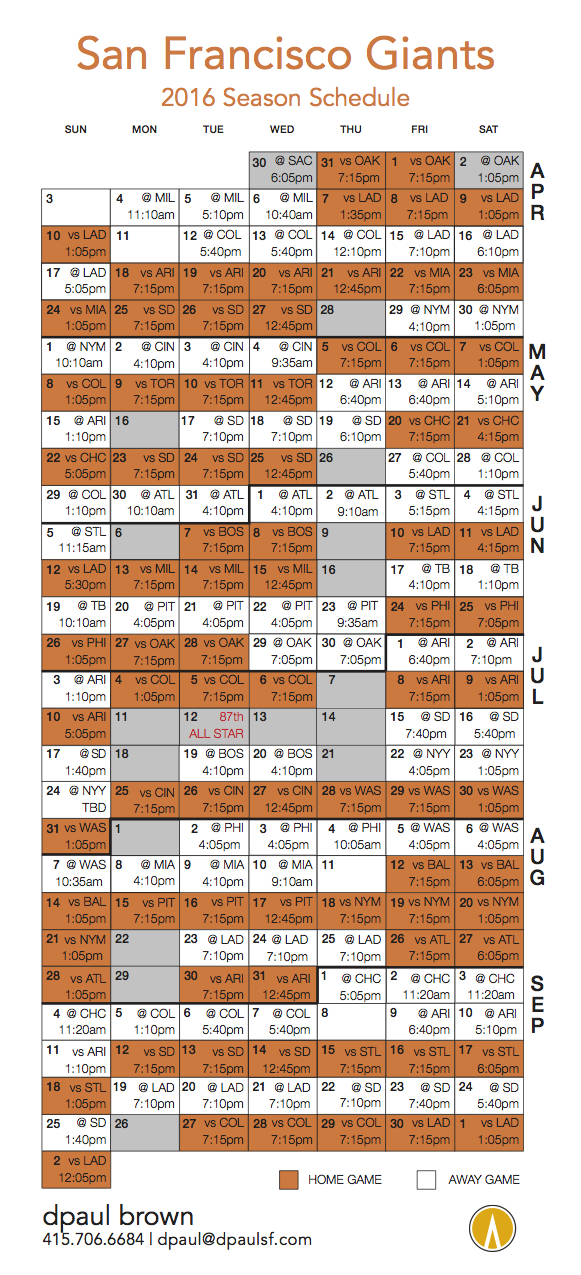 graphic relating to Sf Giants Printable Schedule identified as Shift Giants! 2016 SF Giants Plan dpaul brown, Real estate agent