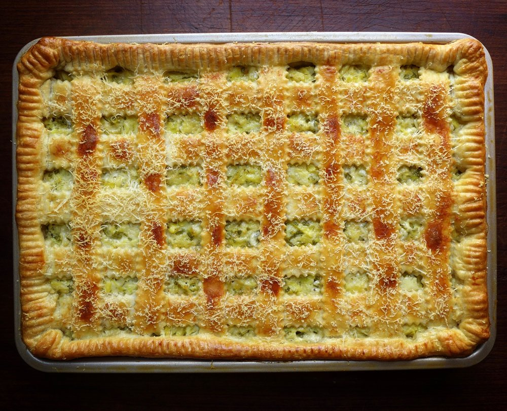 Just like artichoke dip slab pie - trust me you want this for the holiday season!
