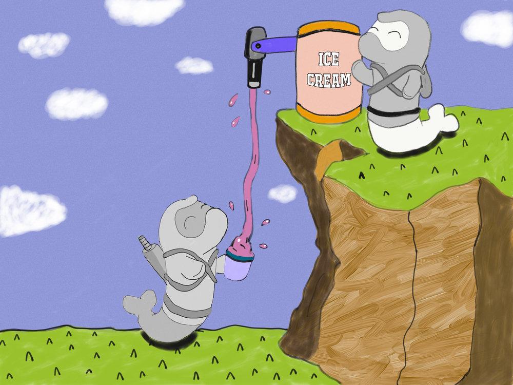 Random sketch: Bored Ninja Seals have fun with an ice cream machine