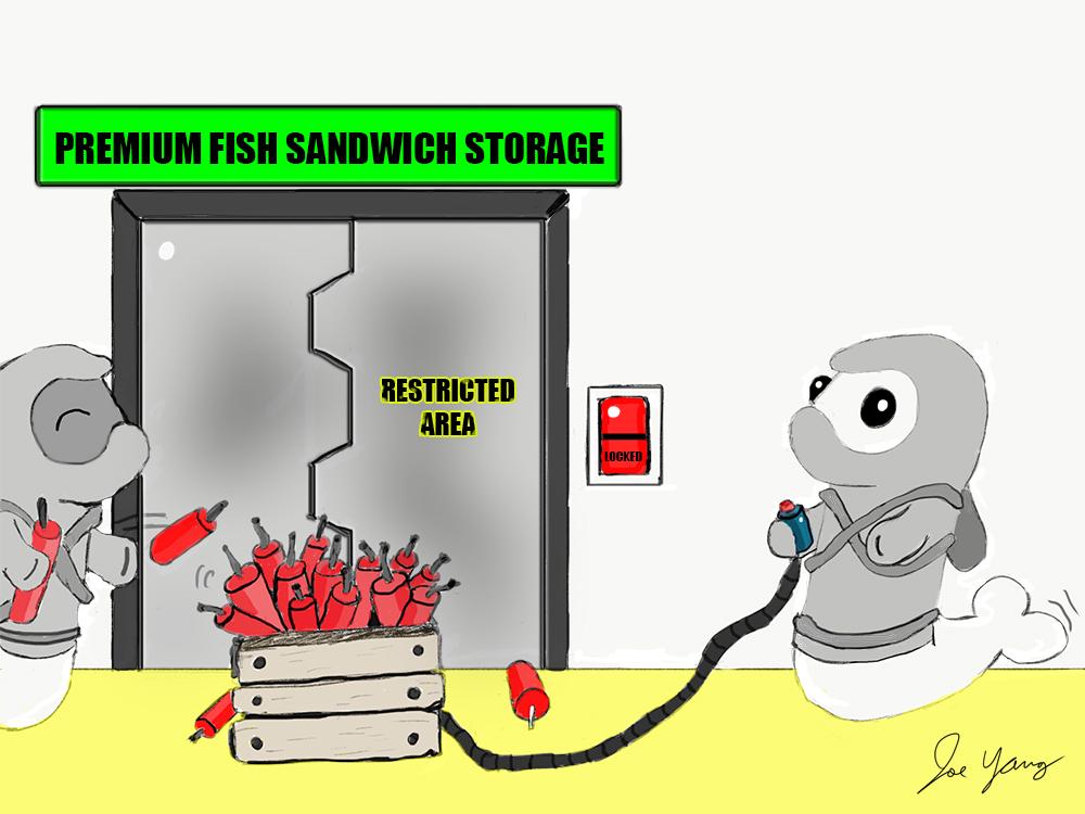 Random sketch: The Ninja Seals REALLY want their fish sandwiches!