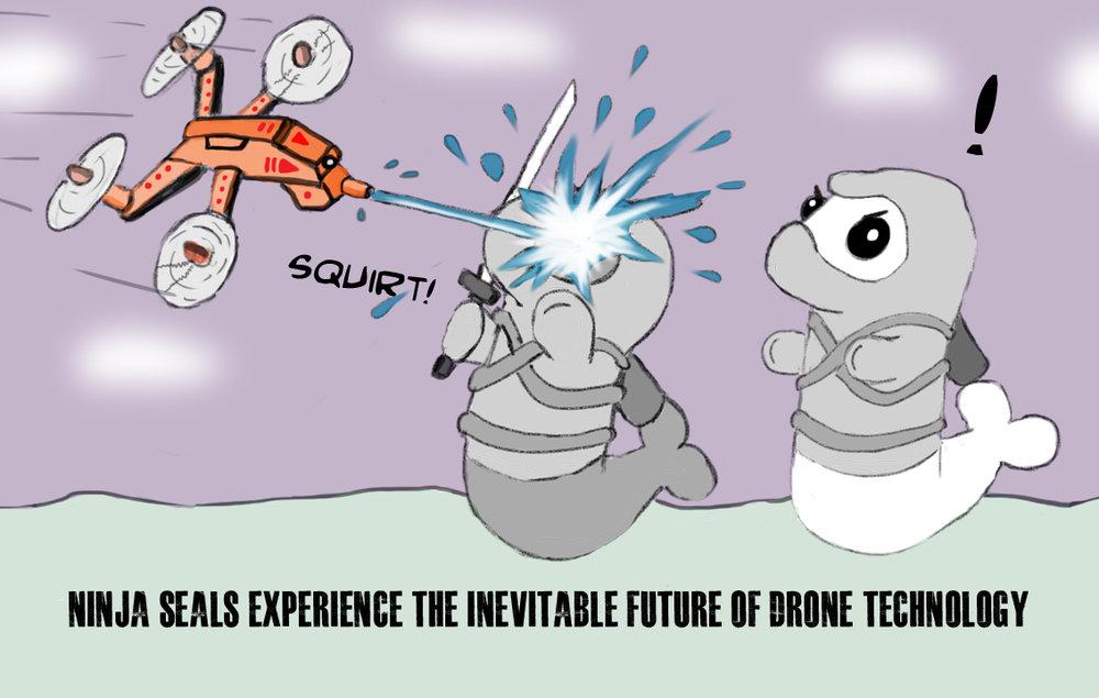 Random sketch: Ninja Seals experience the inevitable future of drone technology